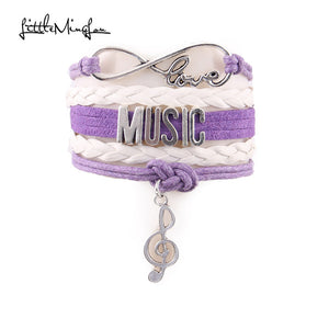 Infinity Love music bracelet note charm leather wrap hobby bracelets & bangles for women men bracelet jewelry