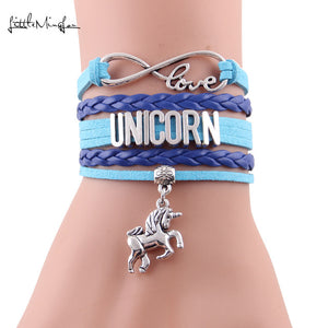 10 colors Infinity love Unicorn Bracelet horse Charm leather wrap men bracelets & bangles for Women jewelry