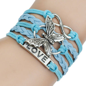 4 Colors Leather Love Bracelets for Women Men Fashion Silver Butterfly Bracelets & Bangles Charm Bracelet