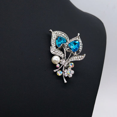 Wedding Jewelry 1 Pcs Brooches Pins Blue Color Love Heart Shape Crystal Full Rhinestone Clothing Jewelry