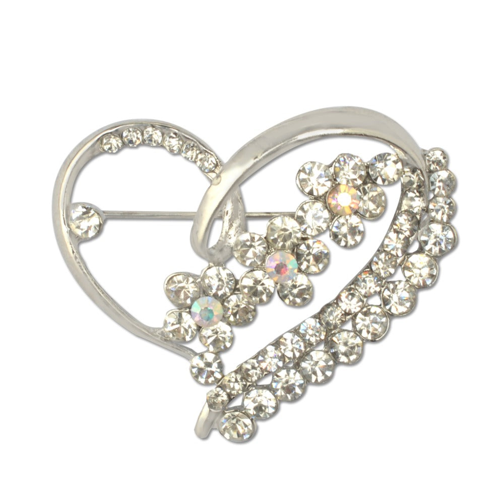 Heart Brooches For Women Lapel Pin Crystal Silver Brooches Love