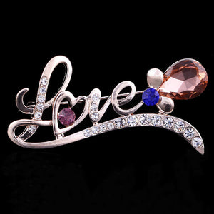 Bling Rhinestone Crystal LOVE Letter Brooch Decorative Garment Accessories Wedding Bridal Brooch Pin Fashion Jewelry