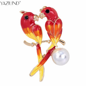 Vintage New Fashion Dual Bird Kiss Love Parrot Brooches Cute Animal Epoxy Brooches & Pins For Women Gifts