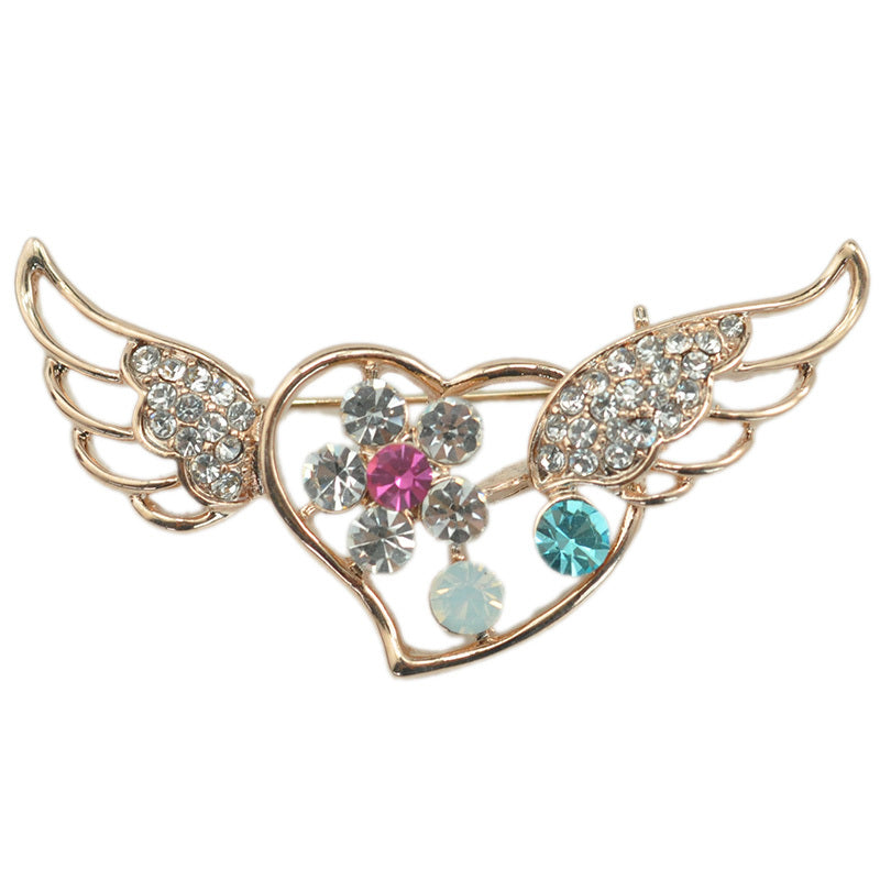 Romantic Love Heart Brooch With Angel Wings