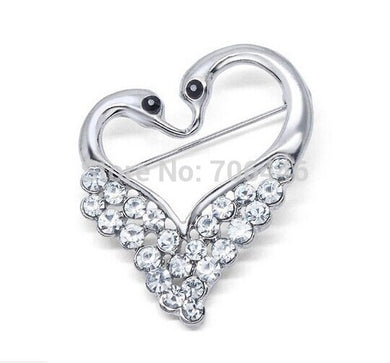Fashion Rhodium Silve Plated Clear Rhinestone Diamnte Double Swan Brooch Love Theme Brooch Pins