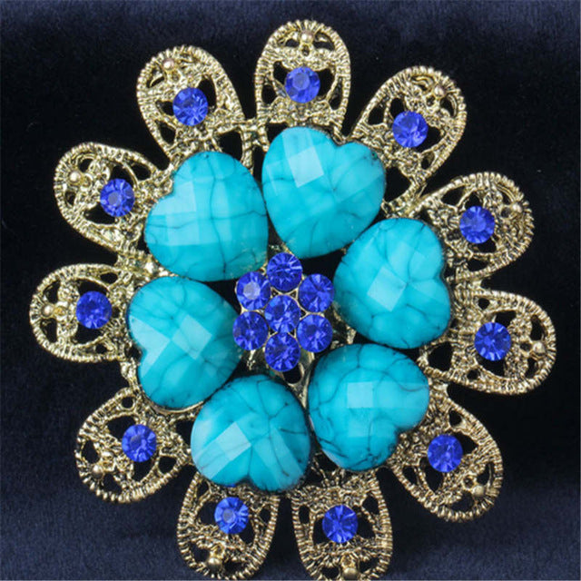 Gorgeous Blue Crystal love Brooches For Women Kids Hats Scarf Buckles Zircon Jewelry Party Corsages Suit Pin Clips