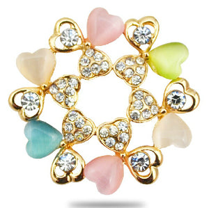 Heart Love Brooch Gold Color Women Costume Accessories Nickel Free Fashion Jewelry