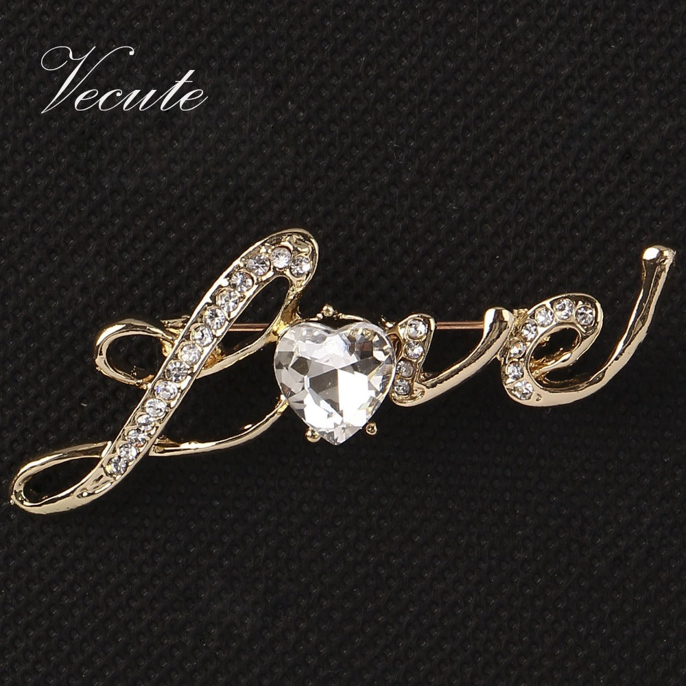 Elegant Gold Color Crystal Letter Love Brooches Pin Heart Brooch for Women Men Jewelry Accessory