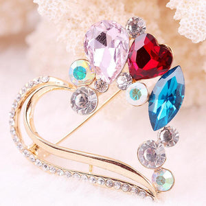 Heart Brooch gold color High Quality Cute Jewelry Big Colorful Crystal Gold Alloy Austrian Crystal Lovely