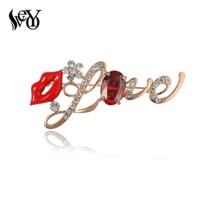Sexy Red Lips Love Brooches For Woman Rhinestone  Crystal Hijab Pins Broaches  Jewelry Hats Accessory