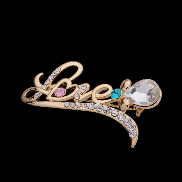 LOVE Brooches Pin Up Jewelry For Women Suit Hats Clips Antique Silver Corsages