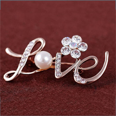 Fashion Gold Color Simple Imitation Pearl Camellia Love Brooch Pins Women Scarf Decoration Jewelry Accessories