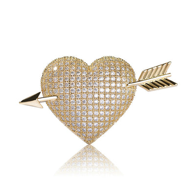 Exquisite Micro Inlay Cubic Zircon Love Brooch Gold-color Rhinestone Copper Cupid's Arrow Brooches For Women Men Pins Bijouterie