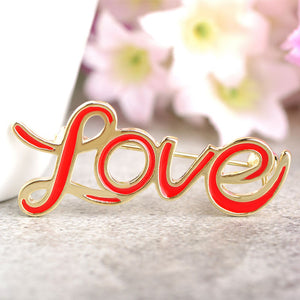 Red Enamel Letter Love Brooches For Women Gold-color Pins Brooch Clothes Dress Scarf Collar Clips Decoration Accessories