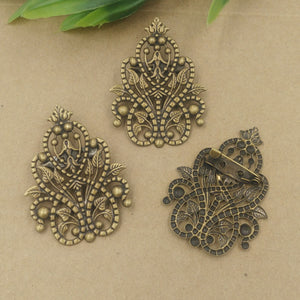 50pcs 35*48mm Fallen Petals Flower Brooches set Antique Bronze vintage Bronch pin blank setting DIY jewelry Accessories
