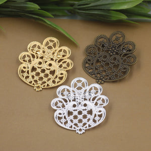 20pcs/Lot 36*41mm flower pedal brooches Antique Bronze/Gold/Silver vintage cabochon  pin base blank setting diy handmade jewelry