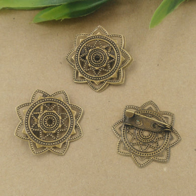 50pcs 30mm Fallen Petals Flower Brooches set Antique Bronze vintage Bronch pin blank setting DIY jewelry Accessories