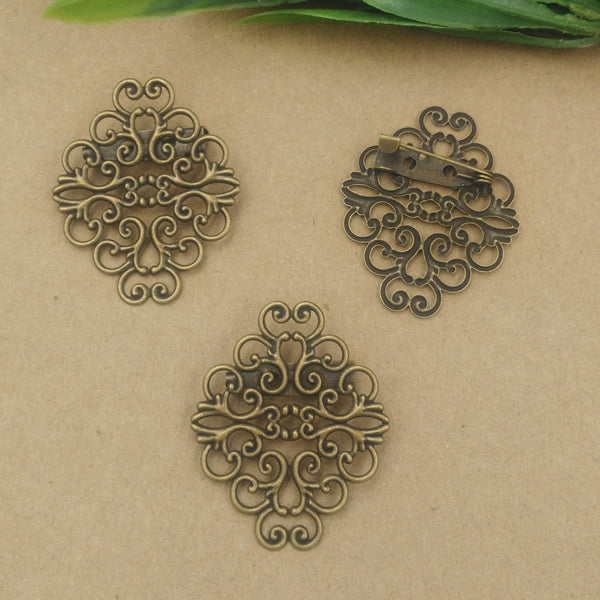 40pcs 37*30mm Fallen Petals Flower Brooches set Antique Bronze vintage Brooch pin