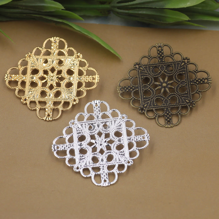 50pcs/Lot 35mm flower pedal Brooches Antique Bronze/Silver/Gold vintage cabochon pin base blank settings diy handmade jewelry