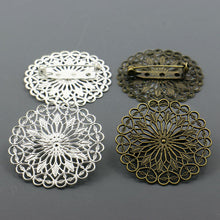 10pcs  Bronzed/Silver Plated 38mm Filigree Flower Vintage Brooch for DIY Jewelry