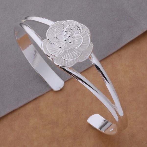 Big flower open silver bracelet bangle for women jewelry alloy parallel bars charm bracelet for young ladies