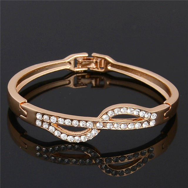 1pc Gold Color Fine Australia Rhinestone Crystal Bracelet Bangle For Women
