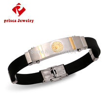 Men Silver Jewelry Luxury Mens Stainless Steel Silicone Bracelets Button Snap Friendship Bracelets