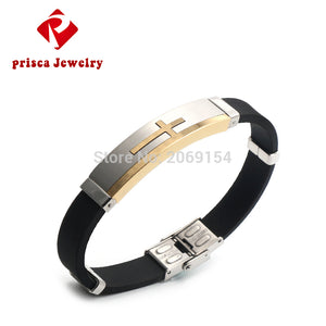 Snap Jewelry Bracelet With Cross Charms Magnetic Stainless Steel Silicone Wristband