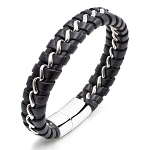Magnetic Buckle Leather Simple Stainless Steel Bracelet Delicate Bangle for Cool Man