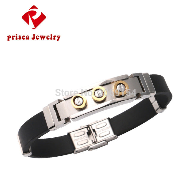 Magnetic Gold Bracelet Fashion Jewelry Men Bead Silver Stainless Steel Wristband Titanium Classic Bangle Vintage Link Chain