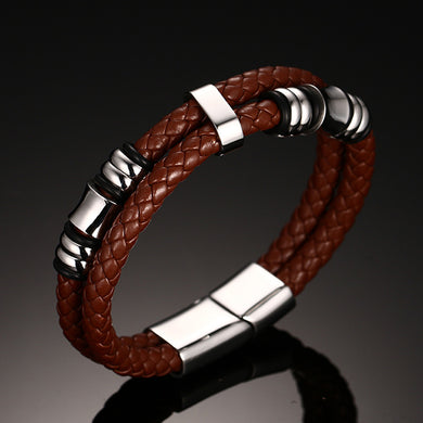 Men's Double Braided Leather Bracelet in Brown Stainless Steel Magnetic Buckle Claps Cuff Bangle Wristband Male Jewelry 8 Inch
