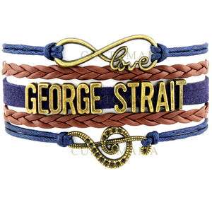 (10 PCS/Lot) Infinity Love Country Music Singer Luke Bryan George Strait Bracelets For Women Navy Brown Leather Custom Jewelry