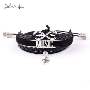 Infinity music bracelet musical note charm adjustable Strap tassel men bracelets & bangles for men jewelry