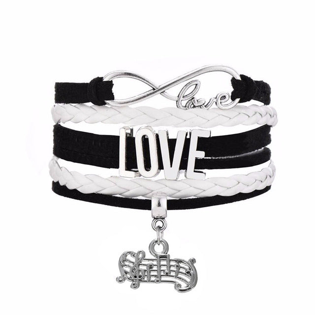 Infinity LOVE Connect With Staff Musical Note Charm Fashion Pendant Black Pink Multi-layer Braided Bracelet