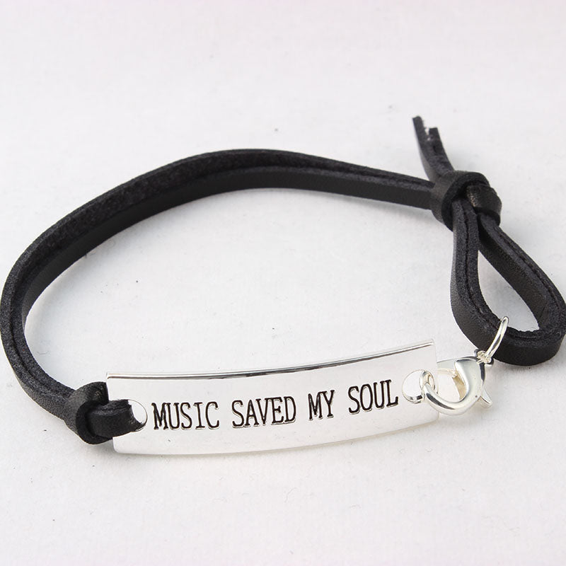 10PCS MUSIC SAVED MY SOUL Leather Bracelets For Women Gift