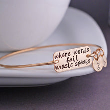 """where words fail music speaks"" Bangle New Listing High Quality Music Fans Bangles Bracelet Pulsera For Men and Women"