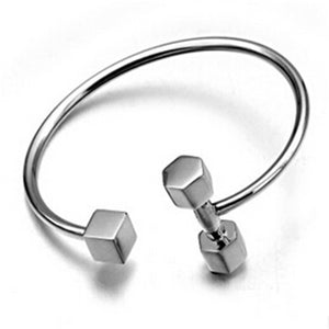 Bangle Dumbbell Black Tool Shape Punk Hip Hop Open Cuff