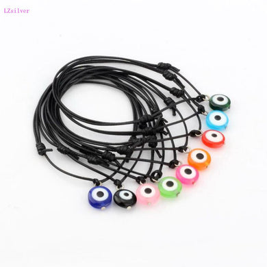 Mixed color Acrylic Eye Beads Charms Black Wax rope Adjustable Bracelets