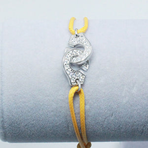 Silver Handcuffs Bracelet For Men Women With Rope Zircon Silver Pendant