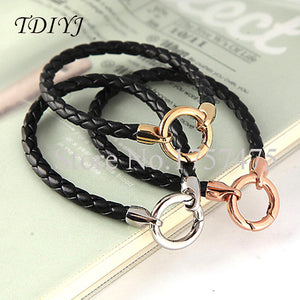 Mixed Black Braided Cow Leather Cord Bracelets with Lobster Clasp