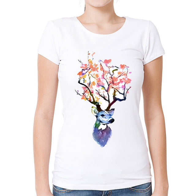 Flower Deer T-Shirt Summer Women Casual Short Sleeve White Tee Tops