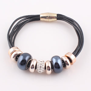6 Layer Leather Bracelet Bangle with Europe Big Hole Beads Charms magnetic clasp bracelet
