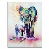 Elephant Family Pictures Watercolor Paintings Abstract Wall Art
