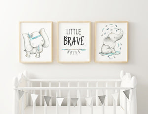 Blue Boho Elephant Baby Boy Nursery Wall Print Set
