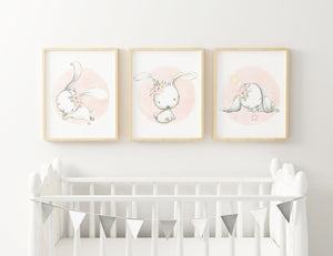Watercolour Pink Bunny Rabbit Wall Art Nursery Set Baby Girl