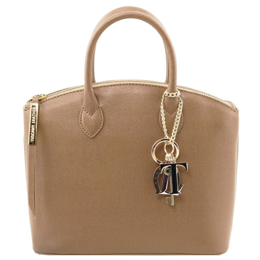 Adelaide Saffiano Leather Tote with Keyluck - Small - Odessie