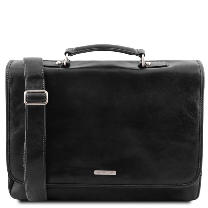 Mantova Smart Leather Briefcase With Flap