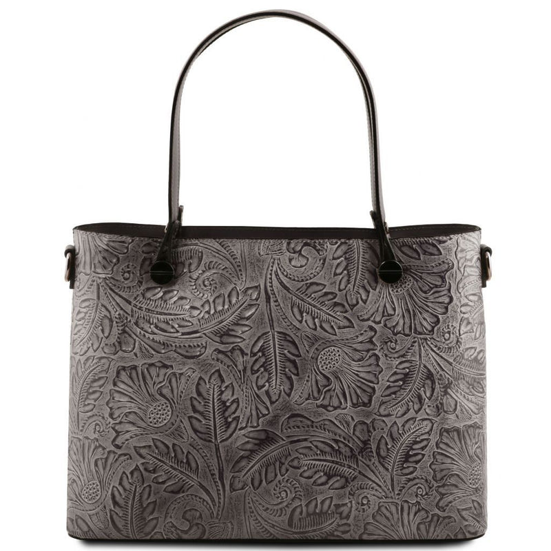 Atena Floral Pattern Leather Tote - Odessie