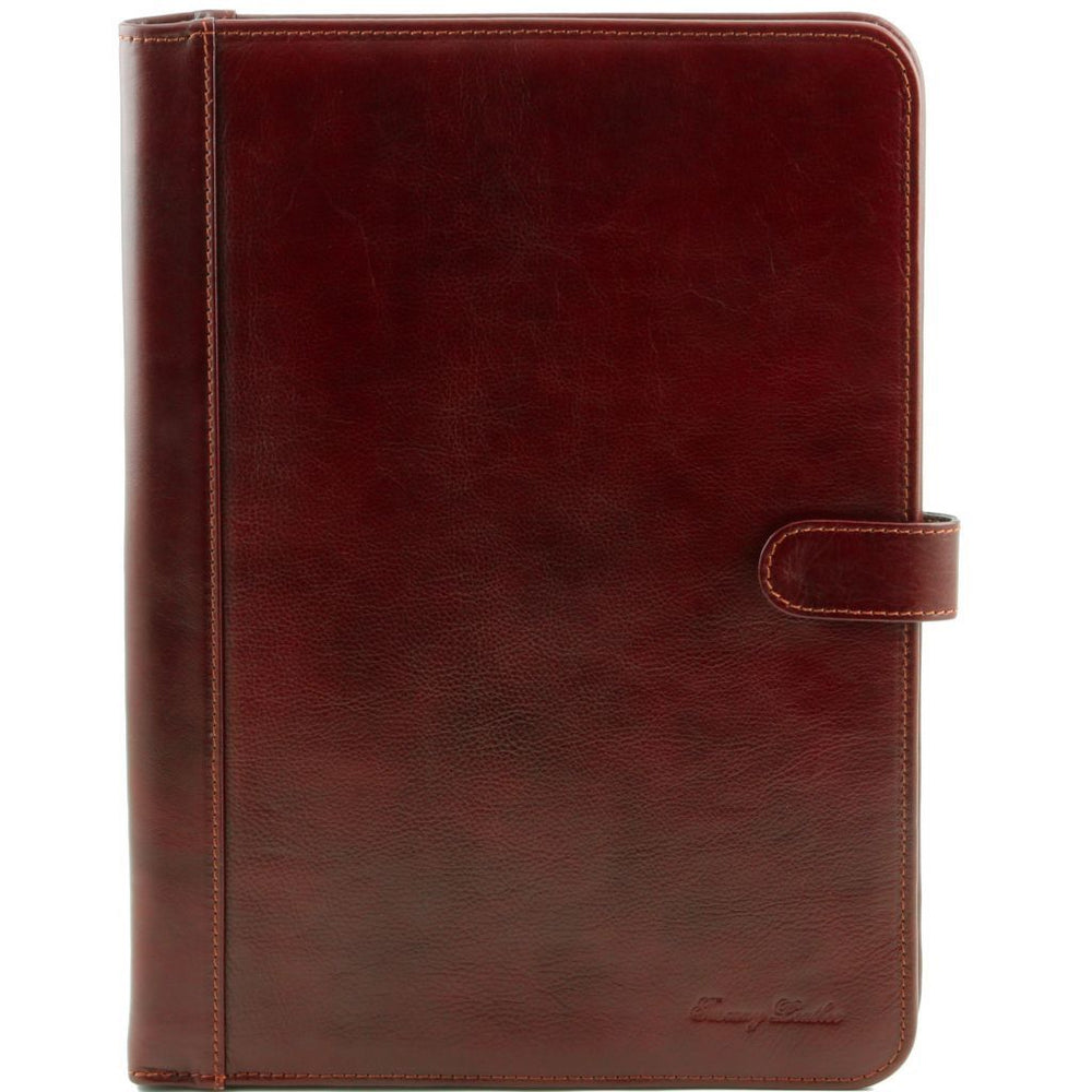 Adriano Leather Document Case With Button Closure - Odessie