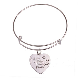 Heart All My Children Have Paws Dog Footprint Bracelet